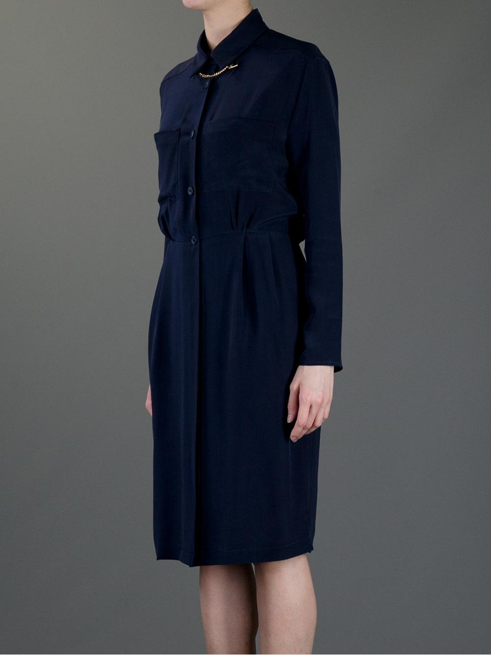 Lyst Sophie Hulme Silk Shirt Dress In Blue