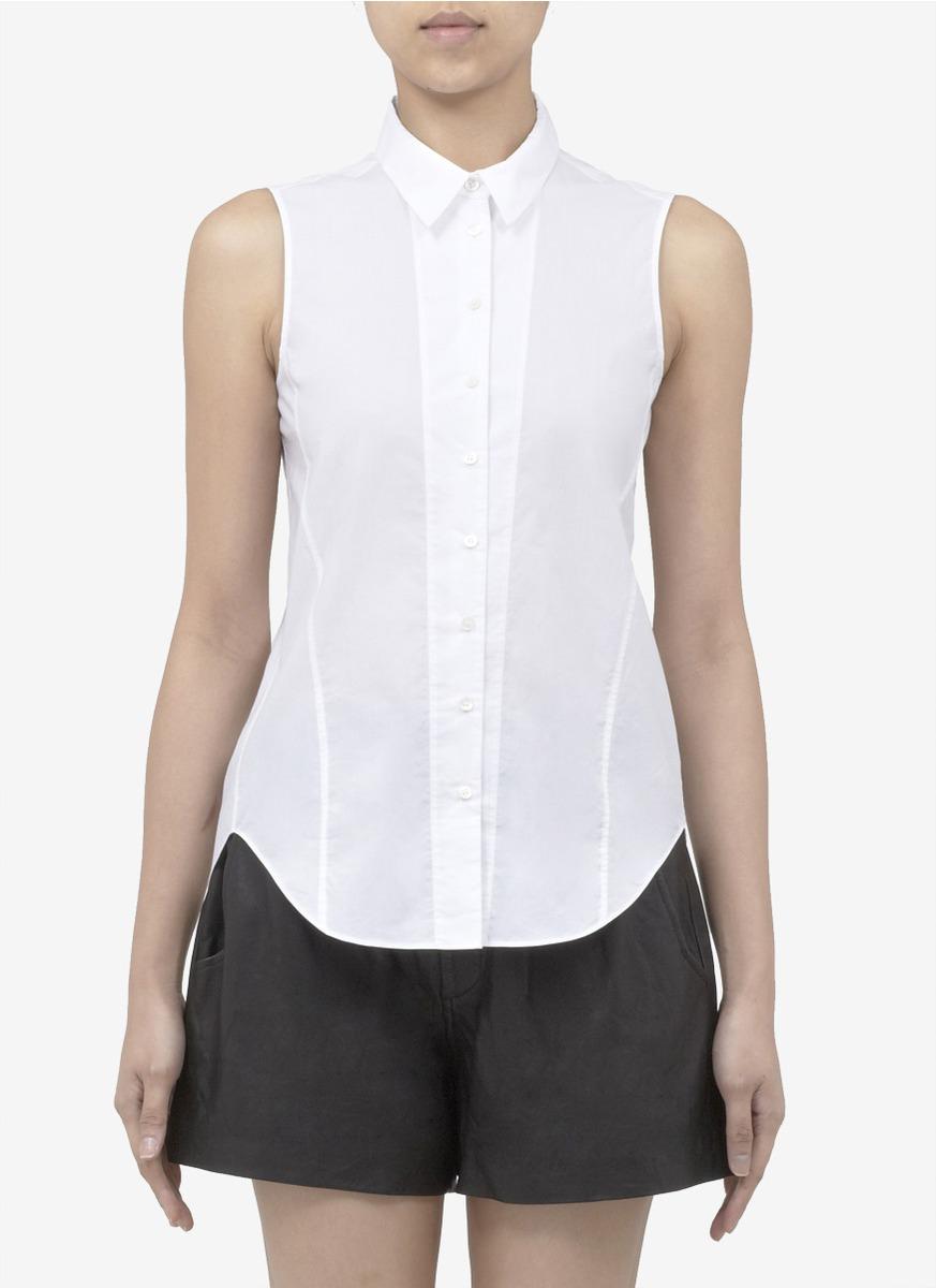 Theyskens 39 Theory Buik Cotton Sleeveless Shirt In White Lyst