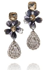 Tory Burch Square Stone Diamanté Tear Drop Earring - Lyst