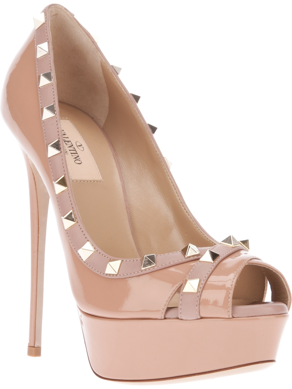 0ba2e62df38 Lyst - Valentino Studded Peep Toe Pump in Natural
