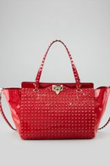 Valentino Punkouture Medium Allover Stud Patent Tote Bag - Lyst