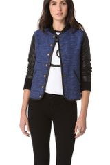 10 Crosby by Derek Lam Varsity Leather Sleeve Jacket - Lyst