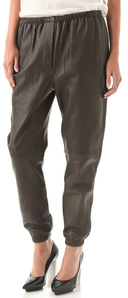 3.1 Phillip Lim Leather Sweatpants in Black