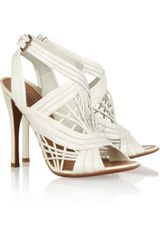 Alaïa Lattice effect Leather Sandals - Lyst