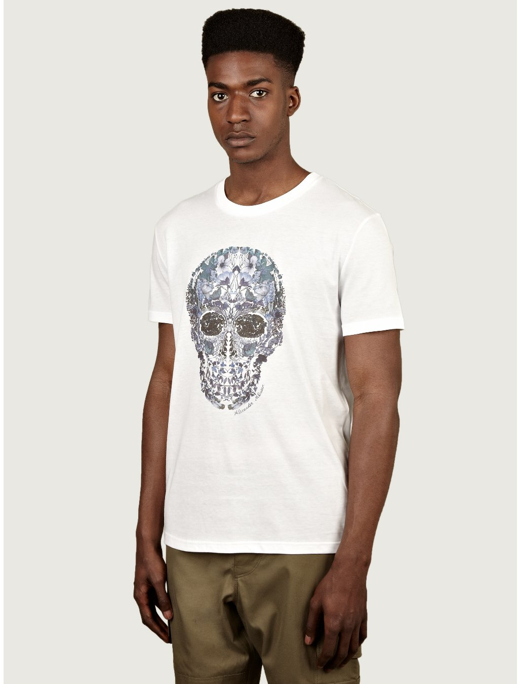 Alexander Mcqueen Mens Floral Skull Print Tshirt in Floral ...