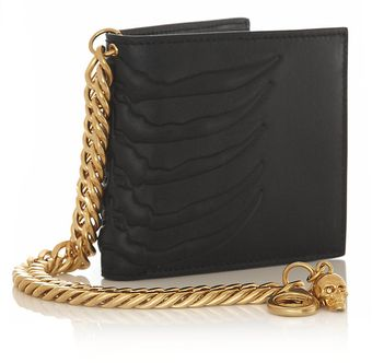 Alexander McQueen Embossed Leather Ribcage Wallet - Lyst