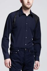 Alexander McQueen Harness Shirt Blue/black - Lyst