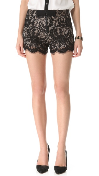 Alice   olivia Alice Olivia High Waisted Lace Shorts in Black | Lyst