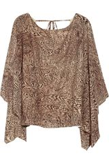 Alice + Olivia Selena Printed Stretch Silkblend Top - Lyst
