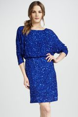 Alice + Olivia Alice Olivia Sequined Blouson Dress - Lyst