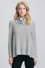 Alice + Olivia Alice Olivia Striped Draped Turtleneck - Lyst