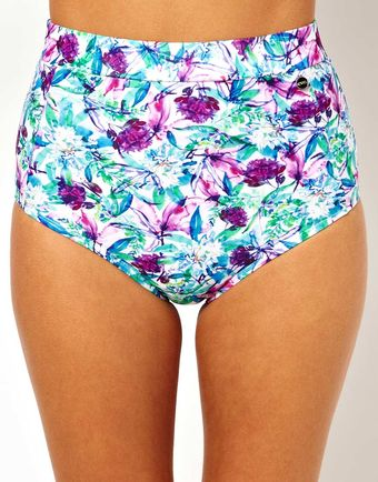 Asos Exclusive To Asos Watercolour Floral High Waisted Bikini Bottom - Lyst
