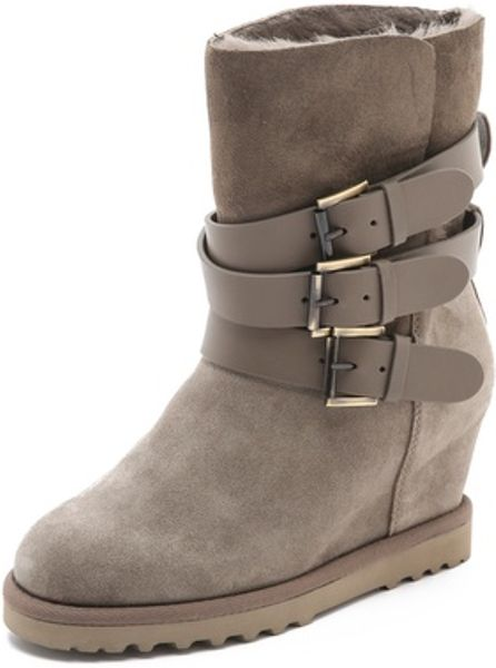 ash yes buckle wedge boots in brown lyst