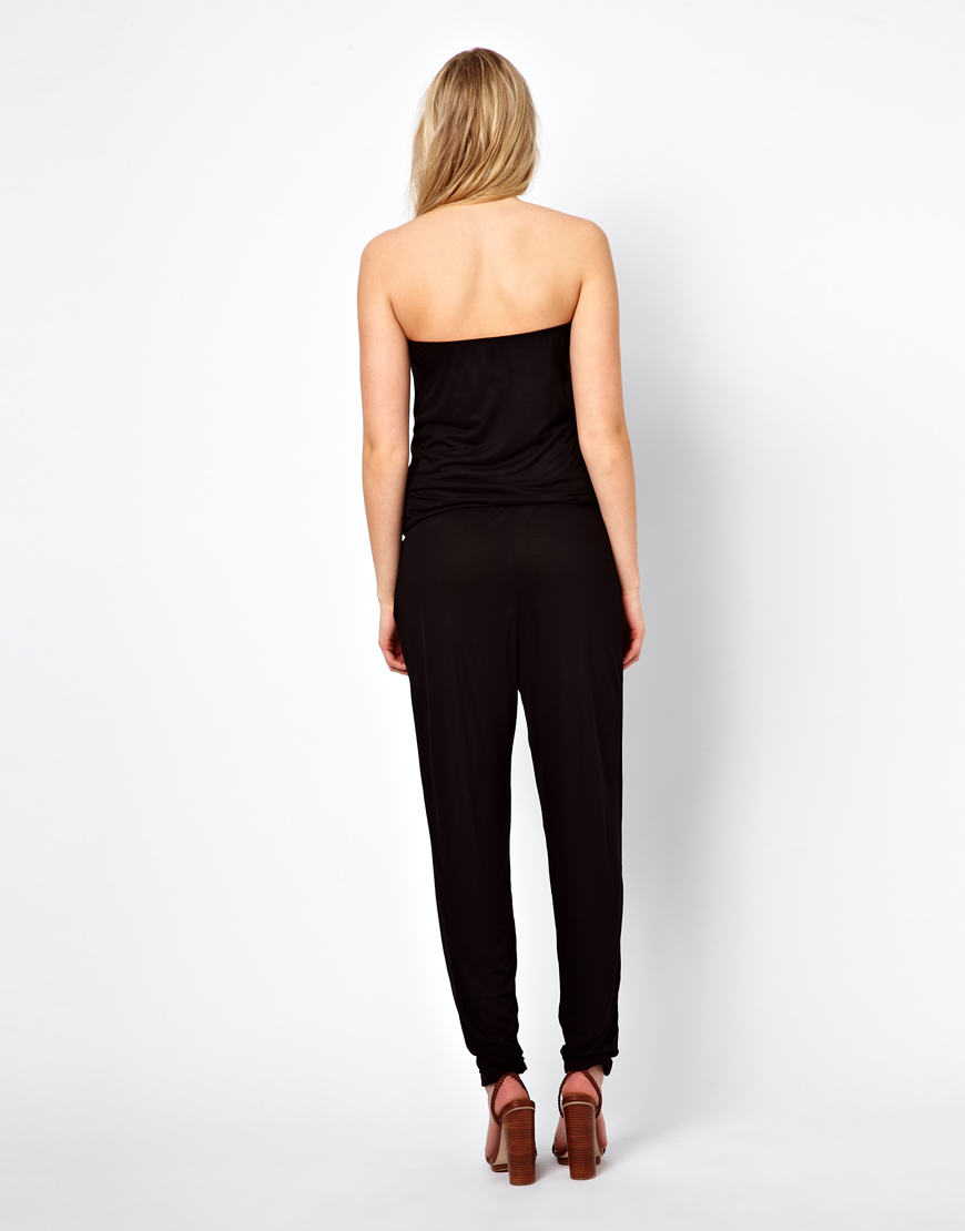 Asos Bandeau Peg Jumpsuit in Black