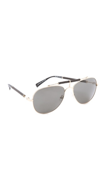 Balmain Studio Aviator Sunglasses  balmain studio aviator sunglasses in metallic lyst