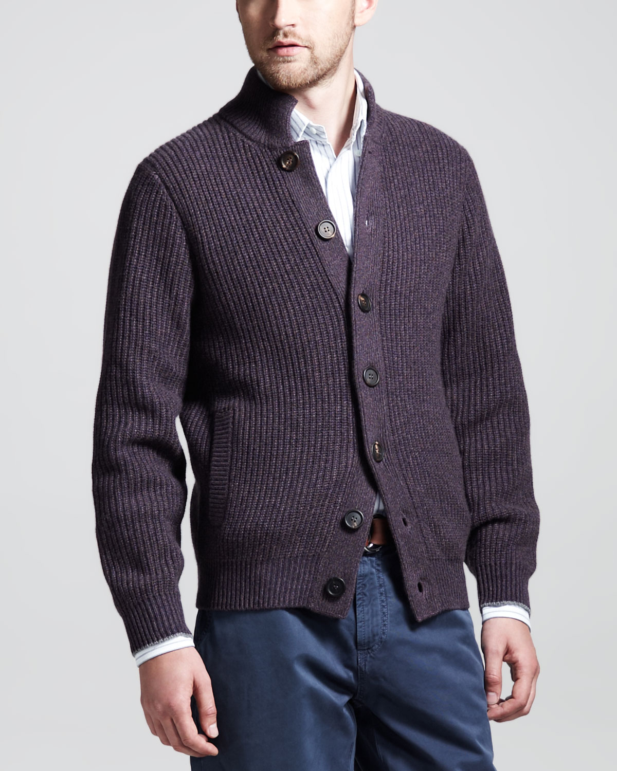 Brunello cucinelli Buttoned Ribbedcashmere Cardigan in Purple for ...