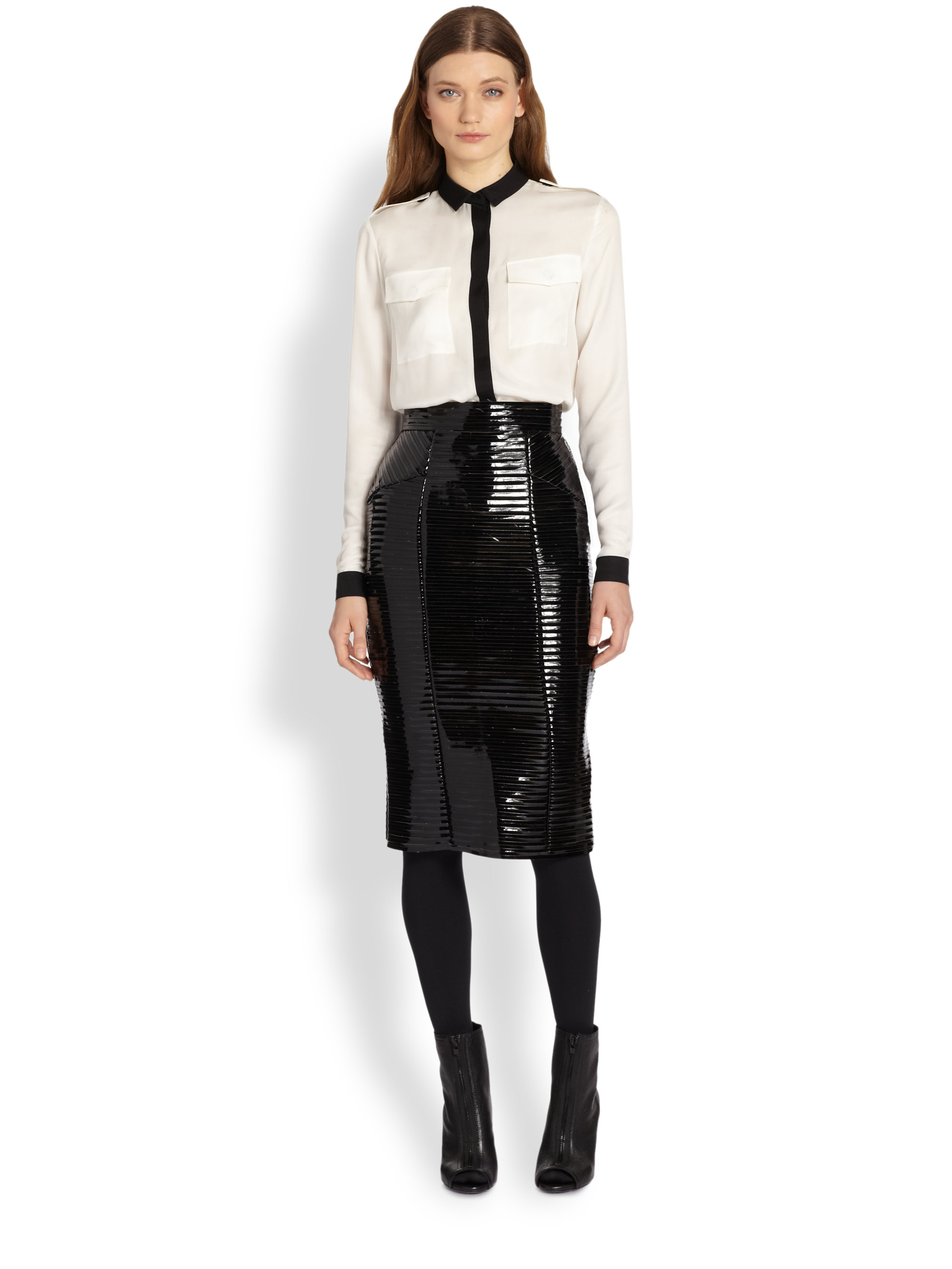Burberry Ribbed Faux Patent Leather Pencil Skirt in Black | Lyst