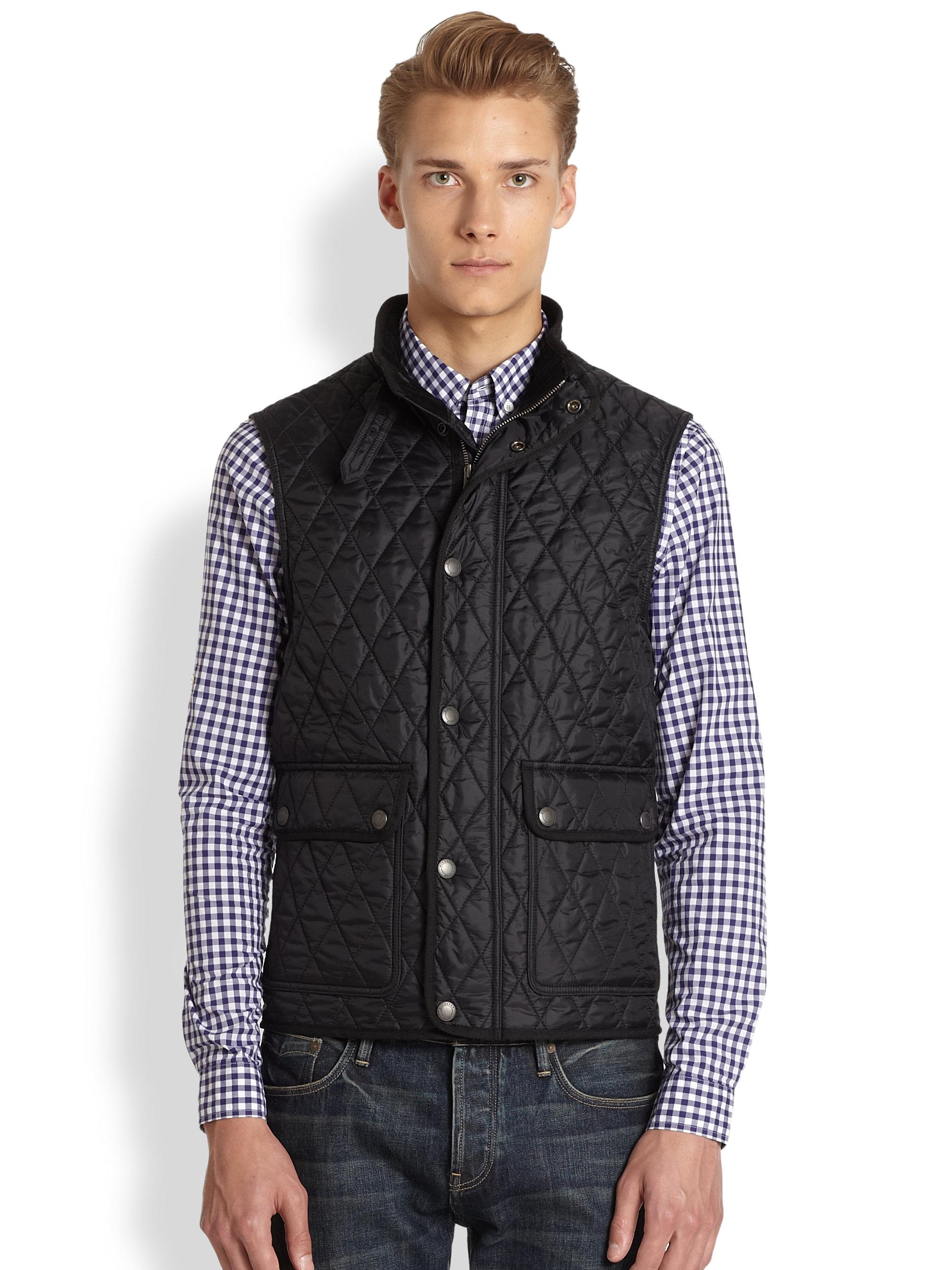 Lyst Burberry Brit Haymarket Quilted Vest In Black For Men