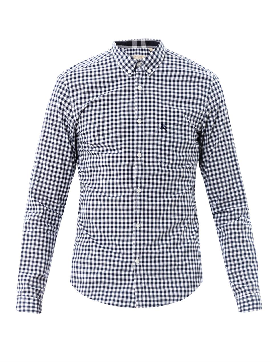 Burberry brit check shirt in white for men lyst for Burberry brit checked shirt