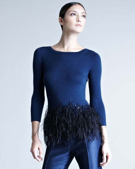 Carolina Herrera Featherpeplum Top in Blue (INDIGO/BLK)