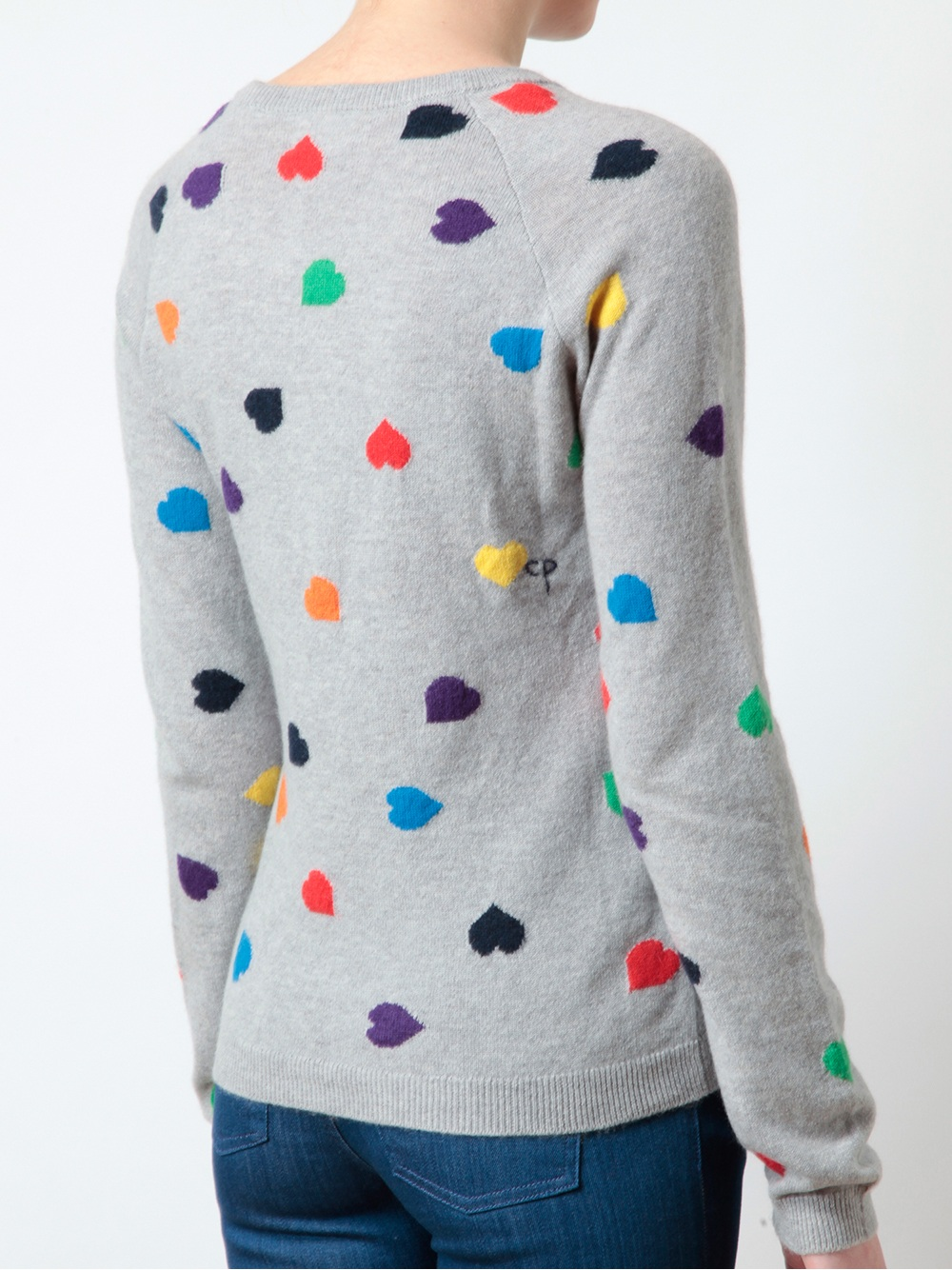 Chinti & parker Heart Patterned Cashmere Jumper in Gray | Lyst