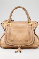 Chloé Marcie Large Shoulder Bag Tan - Lyst