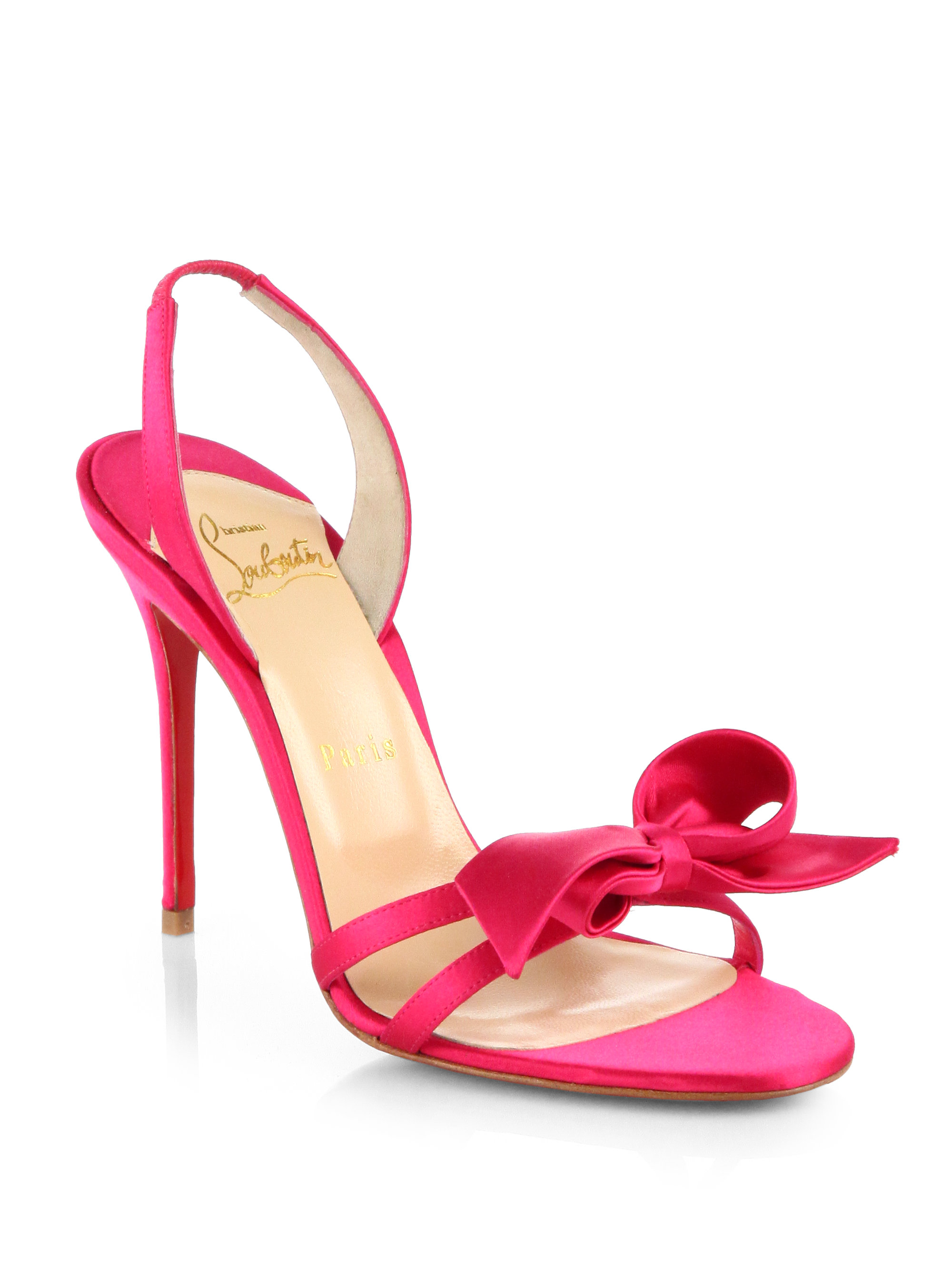 c07eae495e38 ... low cost lyst christian louboutin grusanda satin bow sandals in pink  caa00 f8803