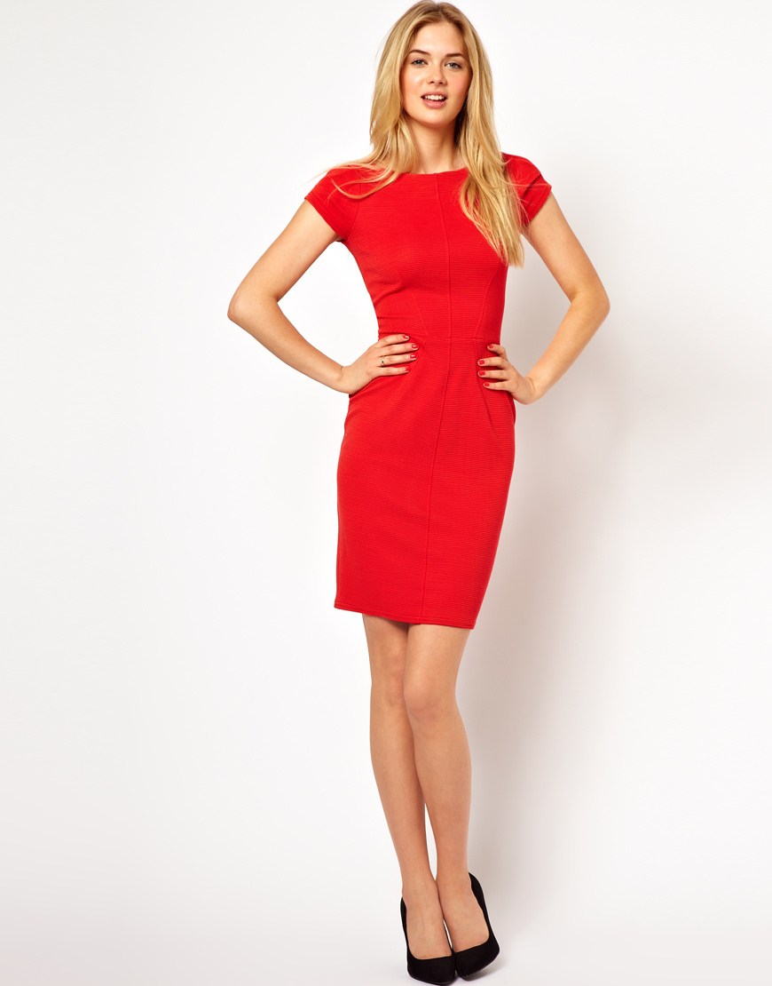24e3df0719c Lipsy Closet Pencil Dress with Cap Sleeve in Red - Lyst