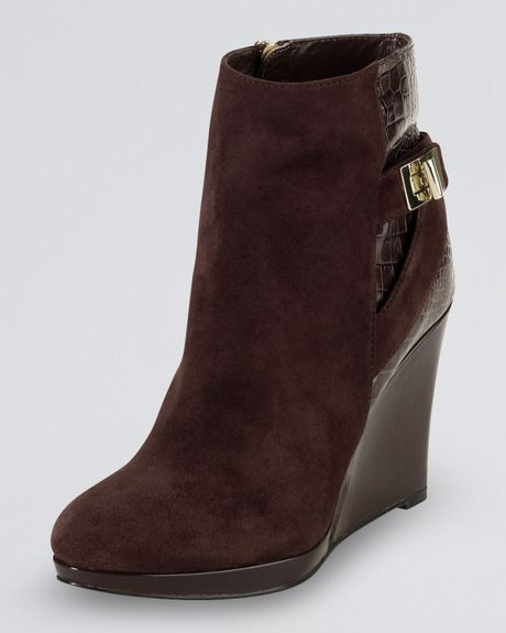 cole haan martina suede ankle boot in brown chestnut
