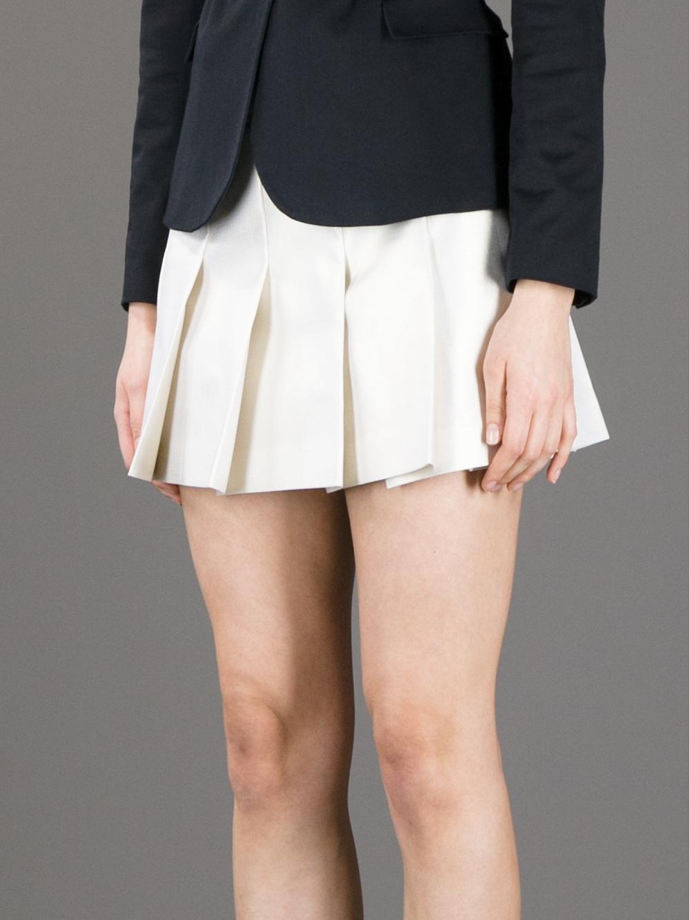 Comme des garçons Short Pleated Skirt in White | Lyst
