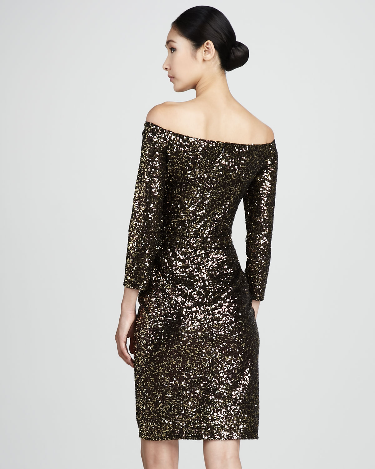 David meister Womens Sequined Offshoulder Cocktail Dress in Brown ...