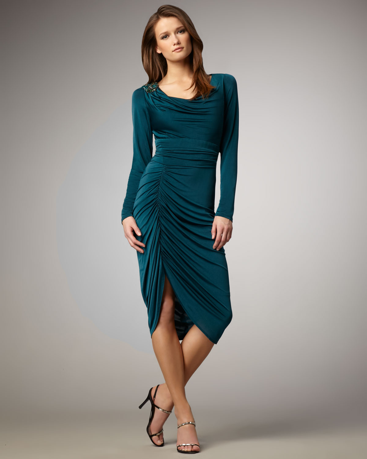 Wedding Ruched Dress david meister womens longsleeve ruched dress in blue lyst gallery
