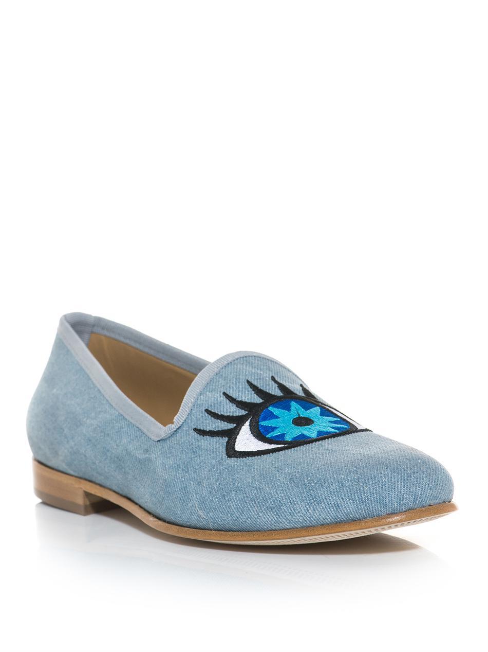 Lyst Del Toro Eye And Winking Eye Slipper Shoes In Blue