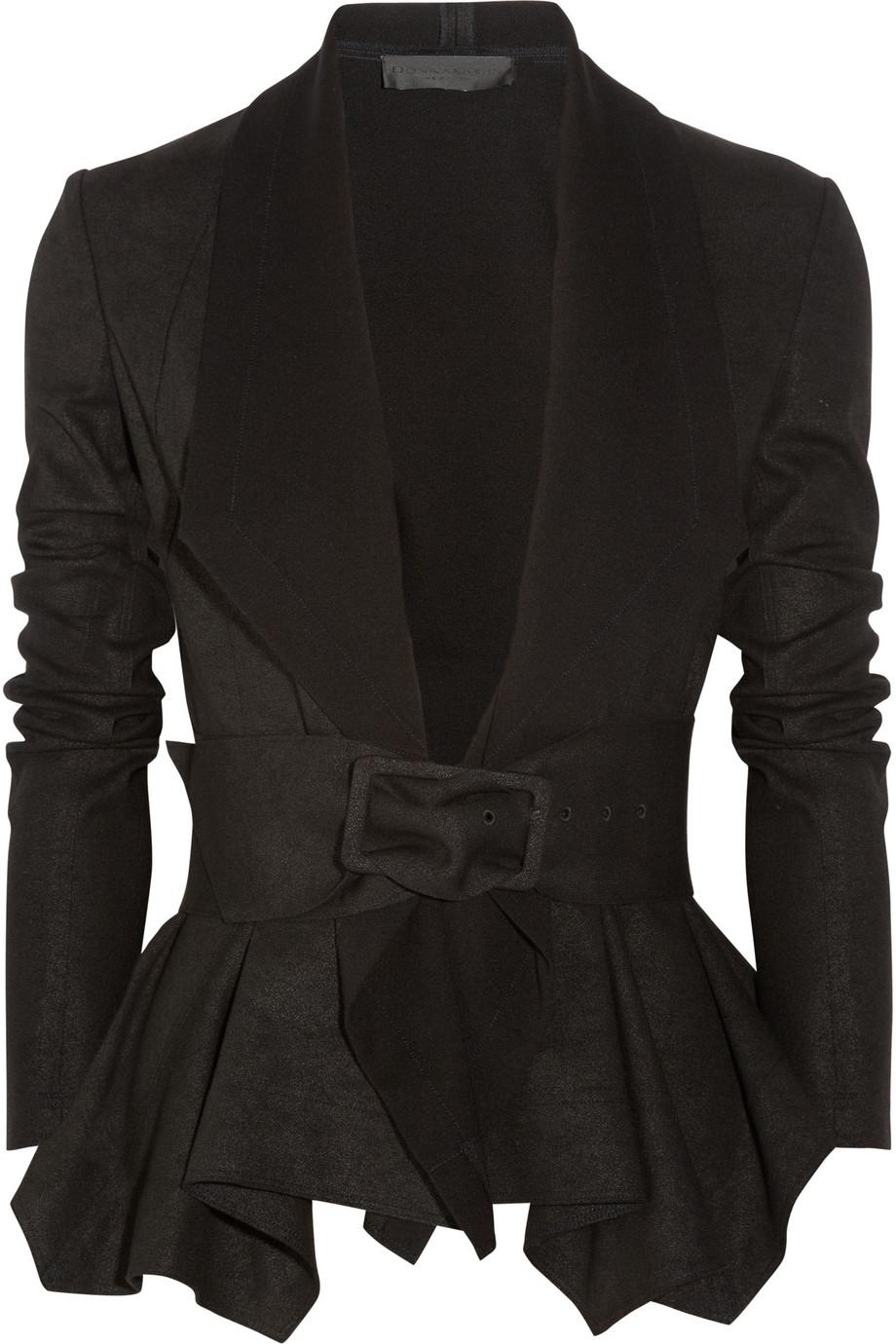 Donna karan Draped Coated Jersey Jacket in Gray