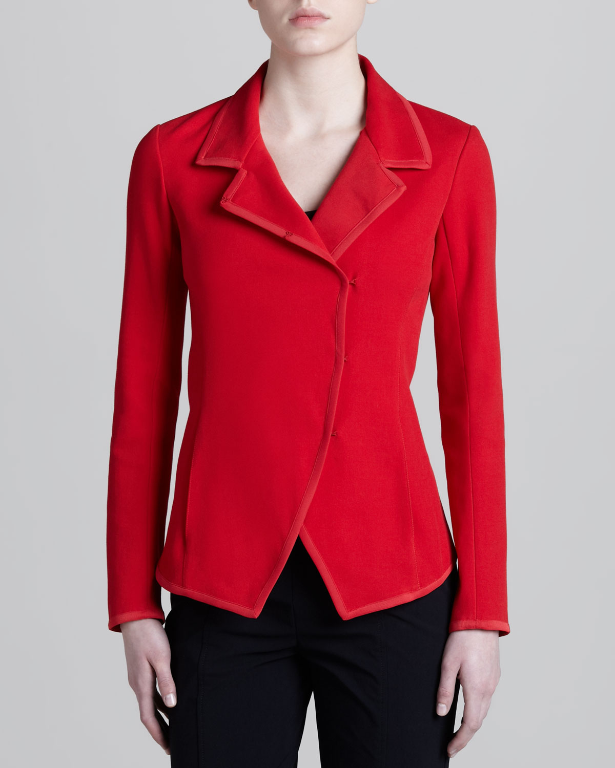 Lyst Donna Karan Convertible Collar Knit Jacket In Red