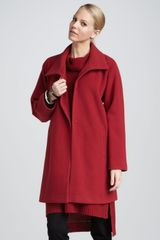 Eileen Fisher Melton Long Wool Coat - Lyst