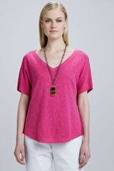 Eileen Fisher Slub Knit Vneck Top - Lyst