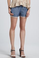 Elizabeth And James Jack Sheer hem Chambray Shorts - Lyst