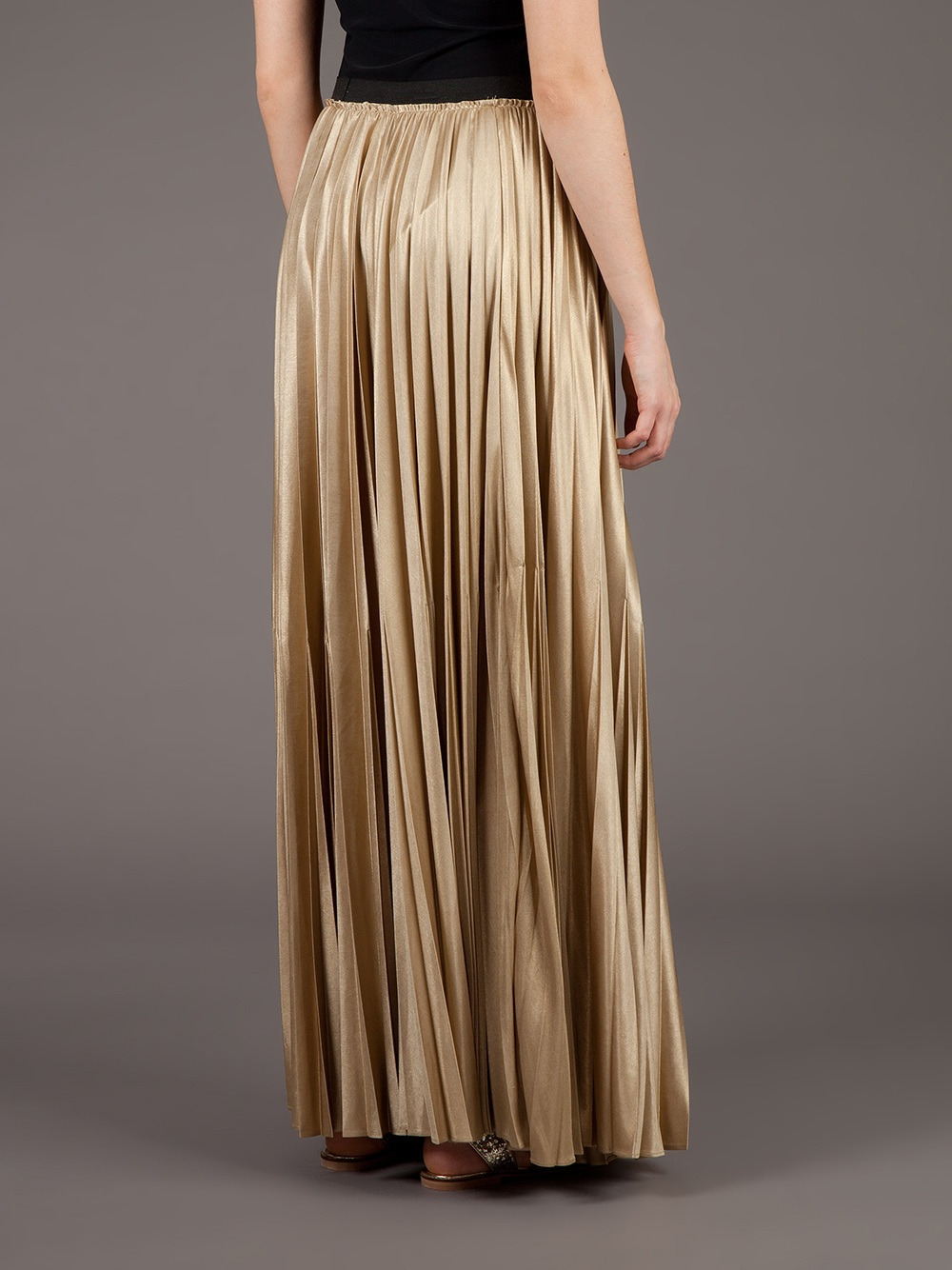 Lyst Enza Costa Pleated Maxi Skirt In Metallic