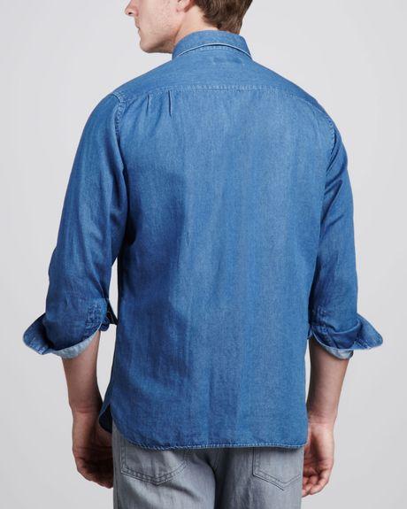 ermenegildo zegna cottonlinen sport shirt denim in blue for men denim lyst. Black Bedroom Furniture Sets. Home Design Ideas