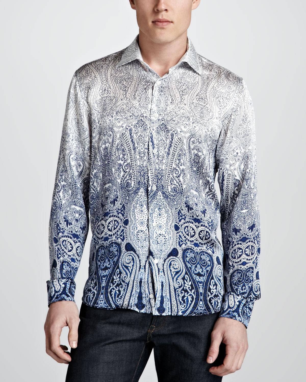Lyst etro paisley ombre silk shirt whiteblue in blue for men for Etro men s shirts