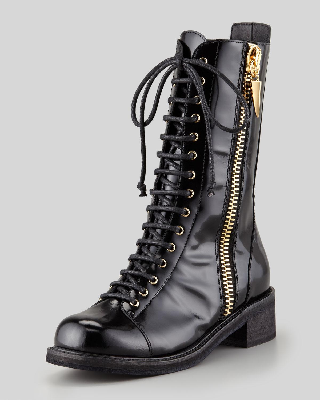 Giuseppe zanotti Sidezip Combat Boot Black in Black   Lyst