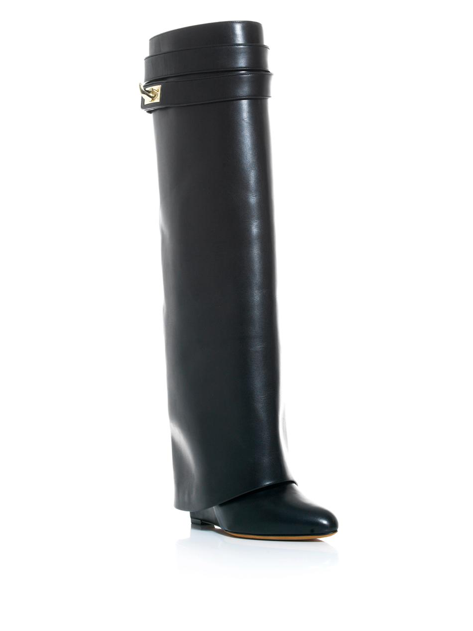 Lyst - Givenchy Shark Lock Leather Wedge Boots in Black 262a5c7a9