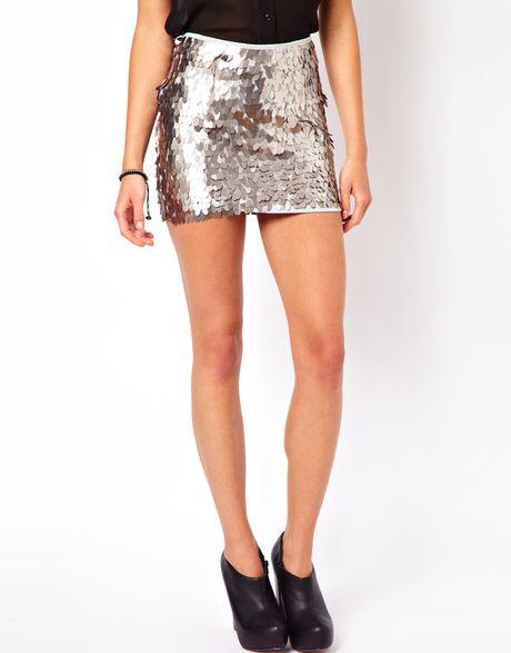 Goldie Goldie Sequin Mini Skirt in Silver | Lyst