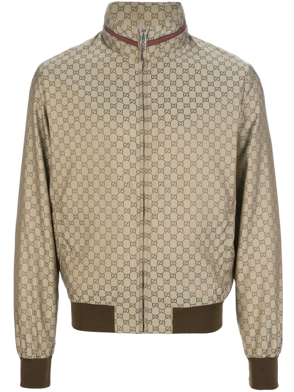 Gucci Logo Print Bomber Jacket In Metallic For Men Lyst