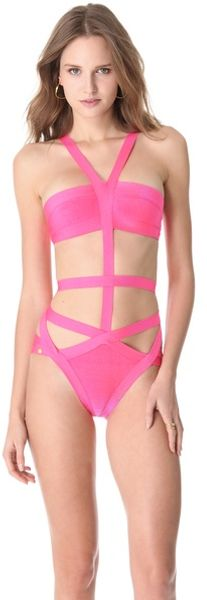 Hervé Léger Cutout One Piece Swimsuit - Lyst