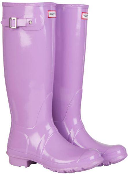 Hunter Womens Original Tall Gloss Wellington Boots In