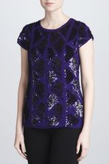 J. Mendel Sequined Mousse Line Top  - Lyst