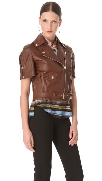 Jean paul gaultier Short Sleeve Leather Jacket in Brown | Lyst