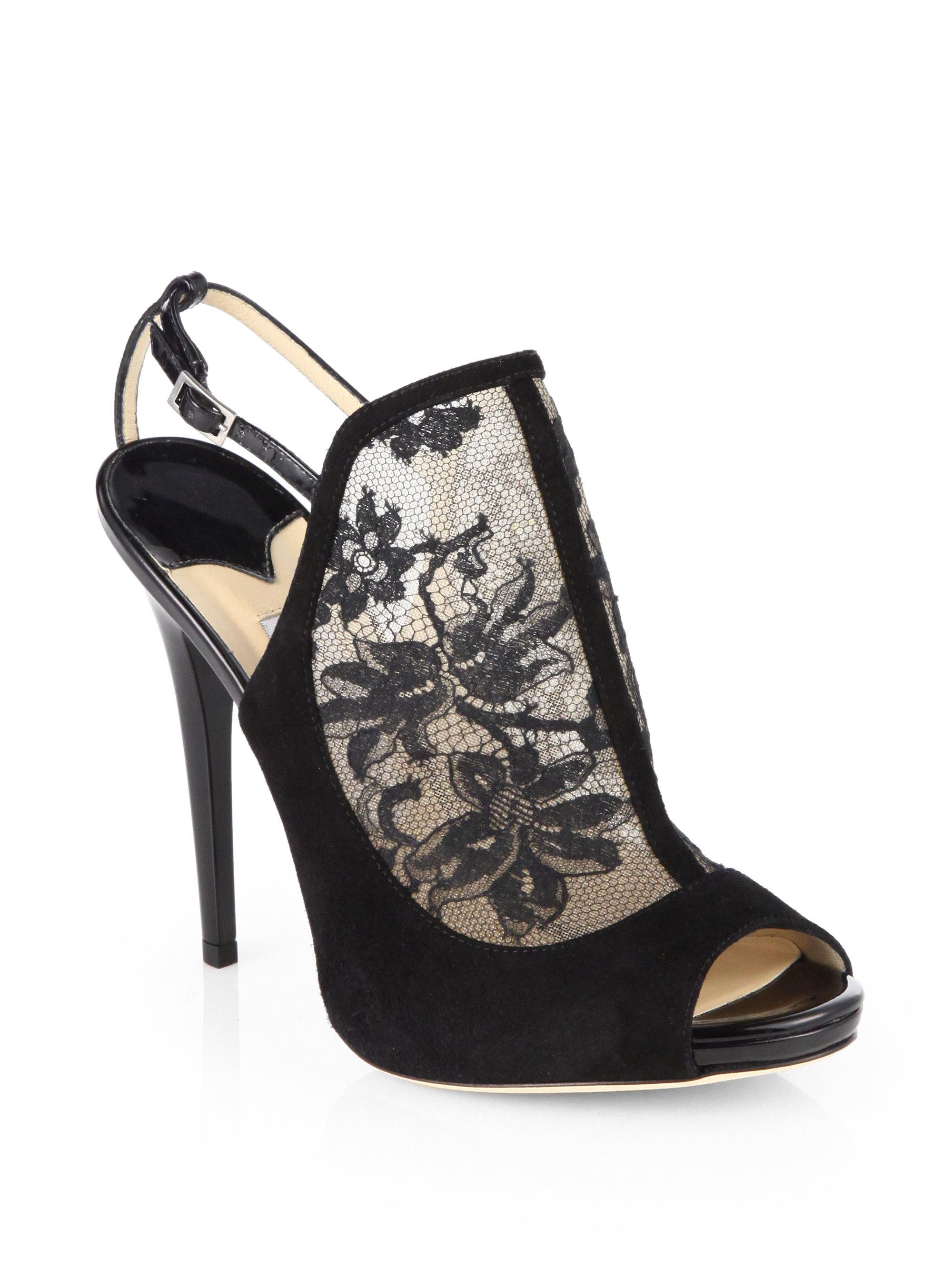 Jimmy Choo Maylen Lace Suede Sandals in Black | Lyst